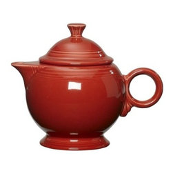 Fiesta Scarlet Covered Teapot - 44 oz. - About FiestaAmerica's favorite dinnerware line, Fiesta was introduced by the Homer Laughlin China Company in 1936. Available in plenty of bright, vibrant colors and unique shapes, Fiesta dinnerware and serveware features Art Deco-style concentric rings. Made from durable, restaurant-quality ceramic and finished in lead- and cadmium-free glazes, this line of kitchenware is easy to mix and match to create your own custom set. Best of all, each piece is microwave- and oven-safe, and dishwasher-safe for easy cleanup.