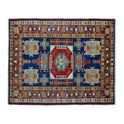 Area Rug, Navy 3'X5' Super Kazak Hand Knotted 100% Wool Rug SH11162 - This collections consists of well known classical southwestern designs like Kazaks, Serapis, Herizs, Mamluks, Kilims, and Bokaras. These tribal motifs are very popular down in the South and especially out west.