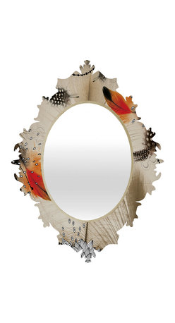 DENY Designs - Iveta Abolina Feather Dance Baroque Mirror - As we like to say around here, if it ain't baroque, don't hang it! With a sleek mix of baltic birch ply trim that's unique to each piece and a glossy aluminum frame, the baroque mirrors collection bumps your stylish reflection up a notch. Custom made in the USA for every order.