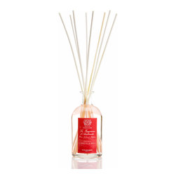 Peonia, Gardenia and Rosa Diffuser 250 ml. - The half-sized version of this handsome reed diffuser that relies on the vintage-inspired appeal of a glass apothecary bottle for its sleek transitional look, the Peonia, Gardenia and Rosa Diffuser is a garden's worth of full-bodied petals captured in a fine fragrance oil with a delicate tint of pink. Romantic and classic, the fragrance perfectly balances favorite florals for a wholesome impression.