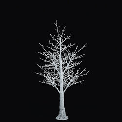 Frontgate - White White Bark LED Tree - 5' - Outdoor Christmas Decorations - Commercial-grade, energy-efficient LED bulbs. Flexible branches can be shaped to create a customized look and to hold ornaments or other decorations. Made of fiber-reinforced plastic and copper wire. Sturdy metal platform base. UV-coated to withstand the elements. Illuminate your landscape with the quiet beauty of a sparkling winter forest. Lit with hundreds of pure white LED bulbs, our Winter Bark Trees shimmer like the moonlit snow. Every tip on every branch is fitted with an LED that emits a cool white light with a subtle blue undertone. Standing 5 feet and taller, the trees make a dazzling focal point, whether used individually, in pairs or groups.. .  .  . . For indoor or outdoor use. Can be used year-round . UL approved. 9 ft. cords.