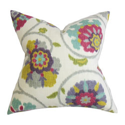 "The Pillow Collection - Tarian Floral Pillow Red Green 18"" x 18"" - Change up the look of your home with this bright accent pillow. This square pillow adds zing and texture with its mix of colorful floral details. This throw pillow features fun shades such as purple, red, green, pink, blue, yellow and white. Constructed with 100% high-quality cotton fabric, this 18"" pillow is ideal for indoor settings. Hidden zipper closure for easy cover removal.  Knife edge finish on all four sides.  Reversible pillow with the same fabric on the back side.  Spot cleaning suggested."