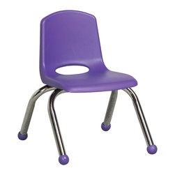 Ecr4kids - Ecr4Kids Playroom School Stack Chair - Chrome Legs Purple Pack Of 6 - Innovative school stack chair features a molded seat with vented back, reinforced ribbing in back and under seat for strength, steel legs with steel lower back support. No penetration of screws through the seat surface. Available with composite ball glides for durability and protection on hard floors and carpet or standard glides.