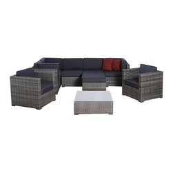International Home Miami - Atlantic Southampton 9-Piece Grey Wicker Seating Set with Grey Cushions - Great quality, stylish design patio sets, made of aluminum and synthetic wicker. Polyester cushion with water repellant treatment. Enjoy your patio with elegance all year round with the wonderful Atlantic outdoor collection.