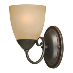 "Hardware House - Hardware House Berkshire Bath/Wall Lighting Fixture Oil-Rubbed Bronze - Berkshire 5"" x 8.25"" Bath/Wall Lighting Fixture Oil-Rubbed BronzeChoose from seven coordinated lighting fixturesAmber-colored glass and Classic bronze finishEasy installation, all mounting materials includedUses 60-watt bulbs, 5 inches by 8-1/4 inchesBacked by manufacturer's warrantyNeed more information on this product? Click here to ask."