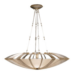 Fine Art Lamps - Staccato Silver Pendant, 787040ST - Let your design-savvy self shine with this sleek pendant fixture. Choose from gleaming silver- or gold-leaf finishes to frame a basket of frosted, seedy glass.