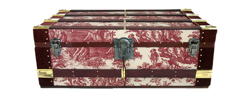 Vintage Cabin Trunk - This vintage steamer cabin trunk has been recovered with WAVERLY print, 100% cotton fabric. Sedona red slats are end-wrapped in brass sheeting and held with solid brass, custom made slat holds.