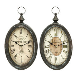 Benzara - Oval Shape Sophisticated Assorted Metal Wall Clock - Set of 2 - Add a chic and contemporary touch to your interior settings with this set of two assorted metal wall clocks that showcases fine attention to details and opulence. Sporting a dazzling design with beautiful color combinations and patterns, this assorted metal wall clock set is crafted from sturdy metal to ensure long lasting use and an exceptional sturdiness. This oval shaped clock adds a charming allure to your home decor, also making it a fine choice of accessory for your office setting to give it a casual stylish ambience. It is available in 2 size variants - 15 in.  H x 8 in.  W x 2 1/2 in.  D, 15 in.  H x 8 in.  W x 2 1/2 in.  D.