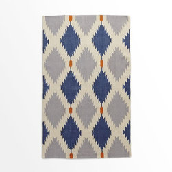 Phoenix Wool Dhurrie Rug, Regal Blue - I really like this pattern. The blues and contrasting orange really make it pop.