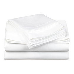 "650 Thread Count Egyptian Cotton Split King White Solid Sheet Set - Our 650 Thread Count Sheet Set offers high thread count durability with premium softness. They are composed of long-staple cotton and have a ""Sateen"" finish as they are woven to display a lustrous sheen that resembles satin. Set includes: One Flat Sheet 110x104, Two Fitted Sheets 38x80 ech, Two Pillowcases 21x42 each."
