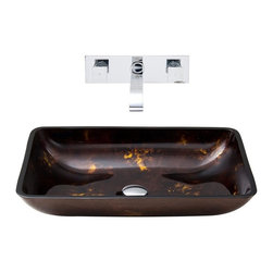 Vigo Industries - 22.25 in. Rectangular Vessel Sink with Faucet - Includes pop up drain, mounting ring, all mounting hardware and hot/cold waterlines
