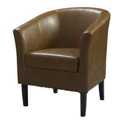 Linon - Linon Simon Russet Club Chair in Dark Walnut - Linon - Club Chairs - 36077RUS01ASU - This modern Simon Club Chair features high arms and a deep seat, while the arching backrest and flared armrests provide a retro-modern design that is perfect for any setting. The chair is accentuated by tightly woven stitching and upholstered with stain and fade resistant wipe-clean Russet colored vinyl. The hardwood frame will provide strength and stability for years to come. The arms and back are generously padded for extra comfort.