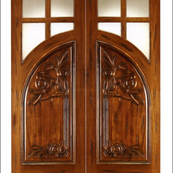 Art Nouveau Entry Doors Model # AN-2011 - Art Nouveau is an art, style, and architecture recognized around the globe.  This door and collection will set you apart from the rest while giving your home a very unique look.  These doors have fine carvings, iron work and most have a operable glass panel to facilitated the cleaning of the iron panel.  Look at the entire collection to find the right fit!