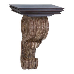 Benzara - Wood Wall Corbel 18in.H, 13in.W - Size: 13 Wide x 8 Depth x 18 High (Inches)