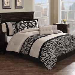 None - Zebra Pleat 8-piece Comforter Set - Add a safari theme to your bedroom with this contemporary eight-piece comforter set. It features a patchwork zebra pattern with contrasting accent pillows in a solid color, and the 100-percent polyester comforter is rated for year-round use.