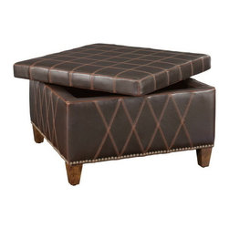 Uttermost - Uttermost 23005  Wattley Double Stitched Storage Ottoman - Rugged sable brown covering with double stitched gridwork is of washable and breathable faux leather. lift off top features welted seams, and offers invaluable storage space. wooden legs are finished