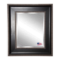 Rayne Mirrors - American Made Black With Silver Caged Trim Beveled Wall Mirror - Add new depth to your decor with this appealing mirror design. Its raised outer border of silver detailing adds a modern or transitional style accent.  Rayne's American Made standard of quality includes; metal reinforced frame corner  support, both vertical and horizontal hanging hardware installed and a manufacturers warranty.
