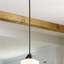 """Ballard Designs - Schoolhouse Convertible Pendant / Ceiling Mount - Includes three 12"""" extension rods & one 8"""" for custom length. Top pivots to accommodate sloped ceilings. Classic vintage style. Based on a vintage schoolhouse fixture, this convertible light can hang as a ceiling mount or add the included extension rods to hang as a traditional pendant. Crafted of steel with classic turnings and opal glass shade.Schoolhouse Pendant features: . . ."""