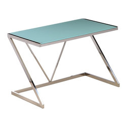 White Line Imports - Amici Stainless Steel Desk with White Tempered Glass Top - Minimalist contemporary design, defined by sleek stainless steel frame and white tempered glass top, makes the Amici desk both stylish and convenient.