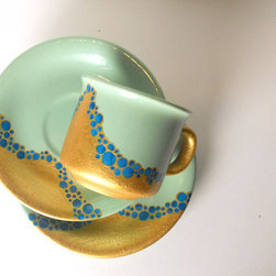 Set of 2 Cup and Saucer, Mint Green and Gold by Art On Porcelain - These mint green and gold saucers and cups would make a lovely gift for new homeowners or a bride-to-be.