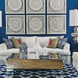 Andre Slipcover Sofa - Cobalt Cool - Bring the Greek Isles to your living room with the intense blues, bright whites, and unique silhouettes. Whether you're catching up with friends or enjoying a quiet night in, let your living room be your own private getaway -- every day of the year.