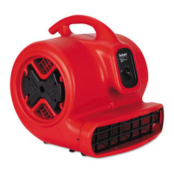 Electrolux Sanitaire - Electrolux Sanitaire Commercial Three-Speed Air Mover, 1/2 hp Motor, 20 Ibs - Lightweight, powerful air mover has a 1/2 hp motor that uses only 5 amps to save energy. It is ideal for carpet drying and restoration projects. It moves air at a maximum rate of 3,800 cu. ft. per minute and is rated at 70db for quiet operation. Three-speed, front-mounted switch allows you to choose the right power level for the job. It comes with a 25 ft. power cord and weighs only 20 lbs. Top-mounted carry handle aids maneuverability. Unit also is stackable for easy storage. You can stack these units four high to save space.