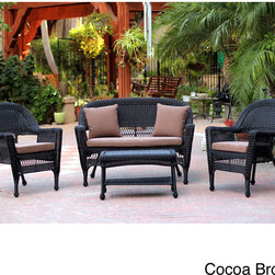 Jeco - Black Wicker 4-piece Patio Conversation Set - Design your own oasis with this wicker 4-piece patio conversation set in a neutral black color. The set,which is made for either indoor or outdoor use,comes complete with a settee,coffee table,and two chairs for numerous  conversations on the porch.