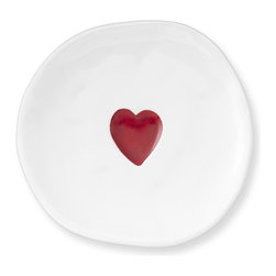 Valentine's Day Plates, Set of 4 - Serve up some love with these Valentine's Day plates. They come in a set of four and have a fun not-quite-round shape with a bright red heart in the center. I think I'll use them to surprise my kiddos with heart pancakes on Valentine's Day morning.