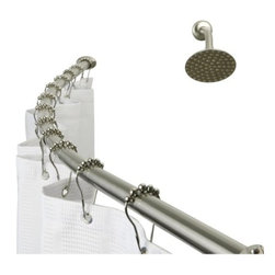Kingston Brass - Kingston Brass Vintage Satin Nickel Adjustable Hotel Curved Shower Rod CC3178 - This adjustable hotel curved shower rod is constructed of high quality zinc alloy to ensure reliability and durability. Its premier finish resists tarnishing and corrosion. Manufacturer: Kingston BrassModel: CC3178UPC: 663370120022Product Name: Kingston Brass Vintage Adjustable Hotel Curved Shower RodCollection / Series: VintageFinish: Satin NickelTheme: ClassicMaterial: Zinc Alloy Base+SS304 TubType: AccessoriesFeatures: Fine artistic craftsmanship