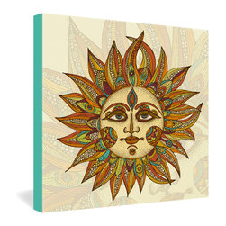 DENY Designs - Valentina Ramos Helios Gallery Wrapped Canvas - An ornate South American sun blazes forth from the pen of Venezuelan artist Valentina Ramos, rendered in decorative detail and warm desert colors. The illustration is dye-printed in vivid, fade-proof ink onto a 1 1/2-inch-deep canvas with turquoise borders as its only frame. This beautiful piece would look particularly at home among Spanish-influenced decor.