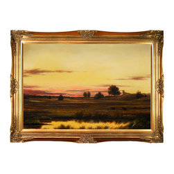 overstockArt.com - Heade - Sunset Rhode Island Oil Painting - This is a remarkable oil painting reproduction of a Martin Johnson Heade original Sunset Rhode Island. Today it has been reproduced with exceptional use of color, detail and brush strokes. This oil painting has an inspiring setting that is sure to bring many admirers. Martin Johnson Heade was a prolific American painter known for his salt marsh landscapes, seascapes, portraits of tropical birds, as well as lotus blossoms and other still life images. His painting style and subject matter, while derived from the romanticism of the time, Heade's work was not widely known during his life time. However, his work did attract scholars, art historians, and collectors during the 1940s. He quickly became recognized as a major American artist.