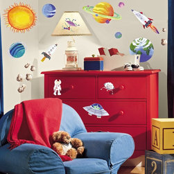 RoomMates - Outer Space Peel & Stick Appliques - RMK1316SCS - Shop for Wall Decorations from Hayneedle.com! Blast off for fun! It's time to decorate and we've got stars in our eyes. This collection of reusable stickers is an excellent choice for the young astronomer and sci-fi enthusiast in your family. Watch as the kids redecorate with glee and imagine the possibilities of the future in space. Best of all you'll be watching without concern for your walls or furniture as these stickers maintain their adhesiveness for years without leaving any trace of residue on the surfaces to which they have been stuck. Much like rocket propulsion we aren't sure how it works we just know it does.These stickers will work on just about any surface but take care with wallpaper or some delicate surfaces. If in doubt test in an inconspicuous place prior to applying all the stickers. Also wait 10 to 15 days after painting before using stickers. Though the paint feels dry it needs adequate time to cure. As with any adhesive product these will work much better on clean surfaces free of dust and the like. Specifically they will work well on surfaces including but not limited to walls mirrors your fridge laptop covers tile glass lockers furniture and automotive surfaces.Please note this product does not ship to Pennsylvania.