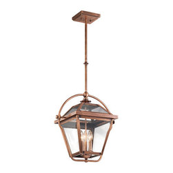 Kichler - Kichler 42909ACO Ryegate 3-Bulb Indoor Pendant with Lantern-Style Glass Shade - Product Features: