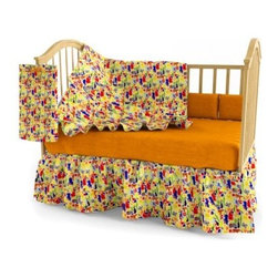Room Magic Zoo 4 U Crib Set - The adorable Room Magic Zoo 4 U Crib Set features a whole host of plants and animals, including crocodiles, cranes, tigers, and turtles. The four-piece crib set includes a bumper, a solid orange crib sheet, a crib comforter that is reversible with the print on top and solid on bottom, and a gathered print crib skirt in the finest 100% cotton.About Room MagicRoom Magic doesn't just make children's furniture; they design furniture specifically for children, using the magic of childhood imagination and creativity as a guiding principle. Beginning in 1999 with graphic designer Karen Andrea's attempt to create a truly lively and unique room for her five-year-old daughter Sarah, the company has maintained a focus on using bright colors and unique themes that steer clear of cliched motifs. Bright and bold playful cut outs decorate the quality hardwood pieces finished with beautiful stains. With collections that are geared both to boys and to girls, Room Magic provides the furniture, accessories, and bedding you need to bring the magical fun of childhood to your kids' rooms.