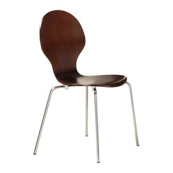Ameriwood - DHP Bentwood Round Side Chair in Espresso (Set of 2) - Ameriwood - Dining Chairs - 3332196 - Step back into the '50s with this cool retro set of Shell Bentwood Chairs by DHP. Of super value get two dinette chairs that are comfortable sleek and quick to assemble. Their curved contour promotes healthy posture and the non-scuff leg caps reduce sound and protect your floors from scratches marks and gouges. The uni-body is made from multi-ply birch making the chairs light and stackable for easy storage. Features:
