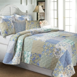 Greenland Home Fashions Vintage Jade Bonus Quilt Set - A rich patchwork of vintage styles makes the Greenland Home Fashions Vintage Jade Bonus Quilt Set a colorful, tranquil way to complete a bedroom. This set includes a quilt, coordinating pillows, and a sham or two, depending on the size you choose. The thick quilt features a cotton face, cotton fill, and double-diamond stitching for durability and added texture. The front features a patchwork pattern of classic motifs while the reverse sports an all-over stripe. The accent pillows have polyester inserts within removable cotton covers, and the quilt is oversized to provide better coverage on today's deeper mattresses.Product Dimensions:Twin comforter: 88L x 68W in. Full/queen comforter: 90L x 90W in.King comforter: 95L x 105W in.Small sham: 20L x 26W in.Large sham: 20L x 36W in.Decorative pillow: 18W x 18L in.About Greenland Home FashionsFor the past 16 years, Greenland Home Fashions has been perfecting its own approach to textile fashions. Through constant developments and updates - in traditional, country, and more modern styles – the company has become a leading supplier and designer of decorative bedding to retailers nationwide. If you're looking for high-quality bedding that not only looks great but is crafted to last, consider Greenland.