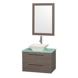Wyndham Collection - Amare Bathroom Vanity in Grey Oak, Green Glass Top, Bone Porcelain Sink - Modern clean lines and a truly elegant design aesthetic meet affordability in the Wyndham Collection� Amare Vanity. Available with green glass , acrylic resin or pure white man-made stone counters, and featuring soft close door hinges and drawer glides, you'll never hear a noisy door again! Meticulously finished with brushed Chrome hardware, the attention to detail on this elegant contemporary vanity is unrivalled.