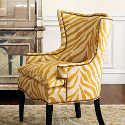 """""""Sunflower Zebra"""" Chair - Add some sunshine to your home with this happy """"Sunflower Zebra"""" chair.  It's proof that traditional doesn't have to mean boring or stuffy!29""""W x 28""""D x 39""""T"""
