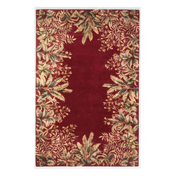 KAS - KAS Emerald 9017 Tropical Border (Ruby) 8' x 11' Rug - Our Emerald Collection is a rich and vibrant line of high density hand-tufted wool rugs. Made in China in a 90-Line quality, this collection offers intricate designs in a medley of lush colors. The designs range from classic French and Orient aubussons to florals. These rugs are beautifully versatile in design and color and complement a broad range of decorating tastes. No fringe.