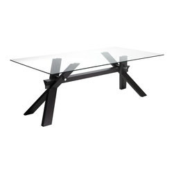 Sunpan Imports - Broderick Rectangular Trestle Base Dining Table w Glass Top - Angled X beams offer trestle style support for the Broderick dining table. The rectangular top is glass, which adds to its contemporary style. Show this off to greater advantage when paired with complementing low profile upholstered chairs in a matching finish. Stunning dining table has a unique x-base. Bold contemporary design with a 10 mm tempered glass top. Seats up to eight. Made from solid rubberwood. Espresso brown finish. Made in Malaysia. Assembly required. 83 in. L x 43 in. W x 29.5 in. H
