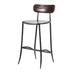 Rocket Counter Stool - Brown - With a retro-inspired design, the Rocket Counter Stool/Brown has a savvy aesthetic all its own. You'll love how the black wrought iron frame has subtle, sassy curves, and you'll also fall for the brown leather seat and back. Look closely, and you'll see a perforated pattern that adds a little pizzazz. Pair this counter stool with other pieces in the rocket collection, sold separately. Please note: This item is not intended for commercial use. Warranty applies to residential use only.About William Sheppee USA Ltd.Known worldwide for its distribution of fine Indian architectural pieces and antiques, William Sheppee USA Ltd. is the Ohio-based, American branch of the Salisbury, Wiltshire company. Named for founding director William Sheppee, the company was founded in London in 1988 and prides itself on its fine craftsmanship and hand carving that draws its inspiration from nineteenth-century Colonial design. The company uses only the finest mango, acacia, and sheesham wood at its India-based facility, and William Sheppee pieces rank as among the finest on the market today.