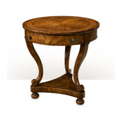 theodore Alexander - theodore Alexander Occasionally Italian occasional table - A cerejeira veneered and mahogany occasional table, the circular crossbanded top above a plain apron with a frieze drawer, on inswept splayed legs supported on a concave sided trefoil platform base with bun feet. Inspired by a 19th century Italian original.