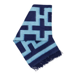 "Jonathan Adler - Jonathan Adler Nixon Navy Throw - Jonathan Adler's Nixon blanket captivates with a bold navy blue graphic print. The rectangular throw's soft texture, tassel trim and interlocking square pattern exude statement-making appeal. 60""W x 60""H; 100% baby alpaca; Navy and light blue colors reverse on opposite side"