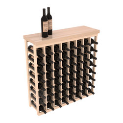 """Wine Racks America - Tasting Table Wine Rack Kit with Butcher Block Top in Pine, (Unstained) - The quintessential wine cellar bar; this wooden wine rack is a perfect way to create discrete wine storage in shallow areas. Customize with LEDs and add a 35"""" top of your choice. Granite, marble or our culinary grade Butcher's Block tops are popular methods to create intimate tasting tables. We build this rack to our industry leading standards and your satisfaction is guaranteed."""