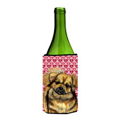 Caroline's Treasures - Tibetan Spaniel Hearts Love Valentine's Day Wine Bottle Koozie Hugger - Tibetan Spaniel Hearts Love Valentine's Day Wine Bottle Koozie Hugger Fits 750 ml. wine or other beverage bottles. Fits 24 oz. cans or pint bottles. Great collapsible koozie for large cans of beer, Energy Drinks or large Iced Tea beverages. Great to keep track of your beverage and add a bit of flair to a gathering. Wash the hugger in your washing machine. Design will not come off.