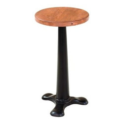 """YOSEMITE HOME DECOR - Stool - A solid mango wood seat rests upon a cast metal tri-leg base. The seat adjusts from 24""""-30"""" high by  just simply spinning the seat. Assembled, Made in India.  Overall Item Dimension 14""""Wx24""""Dx30""""H"""