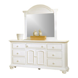 American Woodcrafters - Cottage Traditions Triple Dresser w Dressing Mirror on Bun Feet - Arrange your bedroom toward a stylish outlook. 2 piece Cottage Traditions collection includes a versatile dresser with 2 door & 7 drawer storage - it's never been easier to stay organized. Plus, you'll receive a matching mirror with eggshell white finish and crested & louvered top. Cottage Traditions Collection. Set includes Triple dresser and matching dressing mirror. Triple dresser with 2 doors, 7 drawers and 1 adjustable shelf. Solid wood hardware of knobs in matching finish. Drawers feature conventional dovetailing. Veneer drawer bottoms. Center guided, metal-on-metal, plastic-on-plastic with positive action drawer stops to prevent drawers from being accidentally pulled from cases. Drawers are 14.5 in. front-to-back for ample storage. Corner blocks and cleats are glued and screwed in place. Each case has dust-proofing bottom for clothing protection. Mirror supports are shipped with the product. Beveled glass in mirrors. Signature louvered inserts. Eggshell White with fly-specking finish. Solid Pine, Pine veneer and MDF construction. 1-Year manufacturer's warranty. Triple dresser: 19 in. D x 70 in. W x 37 in. H (195.7 lbs.). Dressing mirror: 2.63 in. D x 44.38 in. W x 46 in. H (48.7 lbs.)