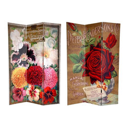 Oriental Unlimted - 6 ft. Tall Double Sided Roses Canvas Room Div - One double-sided divider, both sides shown in image. High quality wood & fabric covered room divider. Well constructed, extra durable, kiln dried Spruce wood frame panels, covered top to bottom, front, back and edges, with tough stretched poly-cotton blend canvas. 2 Extra large, beautiful art prints. Printed with fade resistant, high color saturation ink, creating 2 stunning, long lasting, vivid images. Powerful visual focal points for any room. Amazingly inexpensive, practical, portable, decorative accessory. Almost entirely opaque, double layer of canvas, providing complete privacy. Easily block light from a bedroom window or doorway. Great home decor accent - for dividing a space, redirecting foot traffic, hiding unsightly areas or equipment. Provides a background for plants or sculptures, or use to define a cozy, attractive spot for table and chairs in a larger roomThis room divider features beautiful photographic reproductions of vintage, turn of the century seed catalogue art. The front is the cover of the Peter Henderson & Co. Manual of Everything for the Garden, depicting a lush, dark red rose. The back is from a Brotheron & Sons Catalogue, featuring chrysanthemums, irises, and snap dragons in a spectrum of, red, yellow, pink & white. These lovely renderings provide intriguing vintage commercial graphic art for your living room, bedroom, dining room, or kitchen. This 3 panel screen has different images on each side.