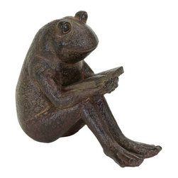 Benzara - Quite Reading Garden Frog Statue in Polystone - Quite Reading Garden Frog Statue in Polystone. There's nothing more adorable than enjoying a good book, except for maybe a darling little frog enjoying his book.