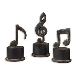 Joshua Marshal - Aged Black Music Notes Set of 3 - Aged Black Music Notes Set of 3